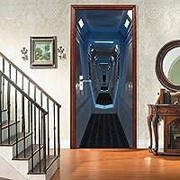 3Dドア壁画アートステッカー Sci-Fiコリドー3Dドアステッカーリフォームドア家の装飾ドアポスター