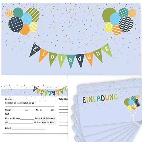 Postkartenschmiede 12 Einladungskarten Geburtstag Kinder Jungen, Geburtstagseinladungen Kinder Jungen, Einladungen Kindergeburtstag Junge, Einladung mit Umschlägen (hellblau)