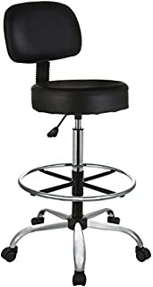 AmazonBasics Multi-Purpose Adjustable Drafting Spa Bar Stool with Foot Rest and Wheels - Black, BIFMA Certified