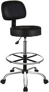 Amazon Basics Multi-Purpose Adjustable Drafting Spa Bar Stool with Foot Rest and Wheels - Black