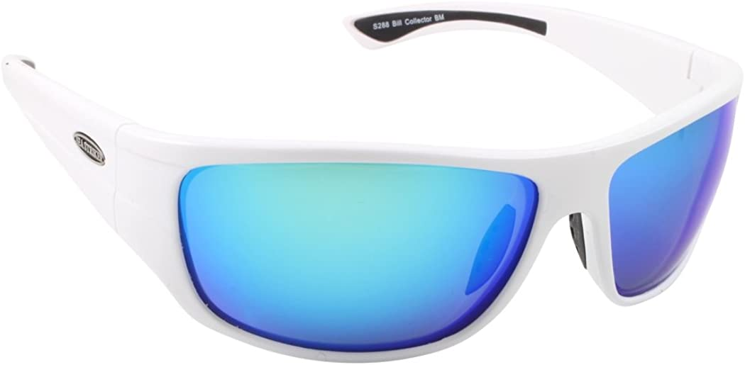 Sea Striker Bill Collector Polarized Sunglasses, White/Blue Mirror, Shiny White, Blue Mirror, One Size