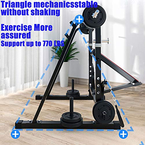 Adjustable Weight Bench, Foldable Fitness Weight Bench with Squat Rack, Leg Extension, Preacher Curl, Multifunctional Workout Station Weight Bench for Home Gym, Bench Press, Excluding Barbell