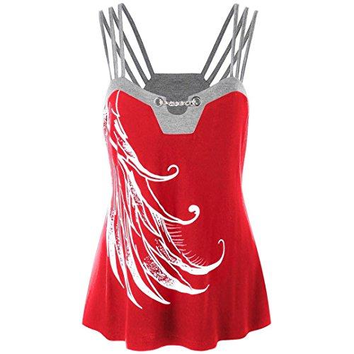 OSYARD 2018 Sommer Damen Mädchen Frauen Plus Size Strappy Tank Weste Tops, Ketten Verzierte Bluse Ärmelloses Shirt Pulli Tees T-Shirt
