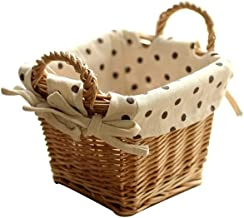 SKGOFGODcw Home Storage Bins Rattan storage basket, fresh pastoral storage box,With handle creative, desktop cosmetic stor...