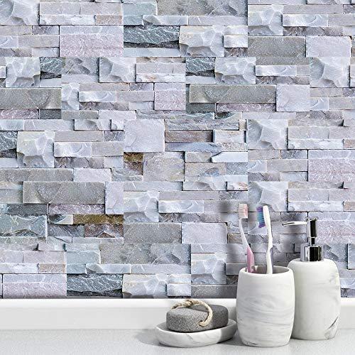 LUOWAN Adhesivo adhesivo para azulejos de pared para azulejos de cocina, vinilo para decoración de baño, color gris claro, 9 unidades