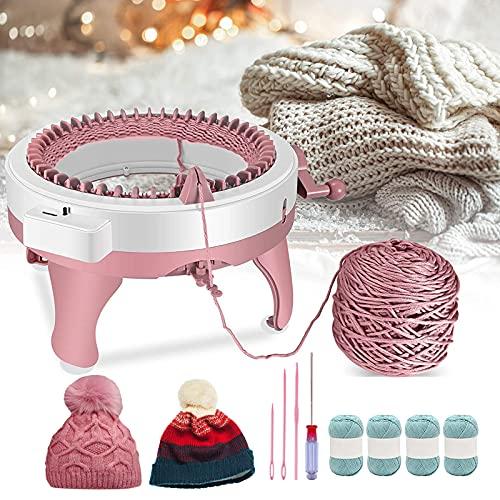 4YANG Máquina de tejer, máquina de tejer a mano de 48 agujas DIY telar redondo de tejer, tabla de tejer giratoria doble telar para calcetín/sombrero