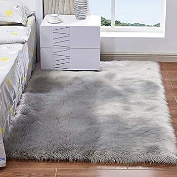 Groß Flauschig Schlicht Schafsfell Weicher Kunstpelz Shaggy Teppiche Room Matten