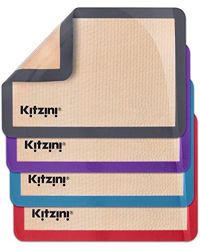 Kitzini Silicone Baking Mat Set. Non-Stick Silicone Mats for Baking. 4 Half Baking Sheets. BPA Free. Professional Grade Silicon Baking Sheet. Silicone Baking Mats for Cookies, Macarons & Pastry