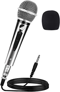 Ankuka Wired Dynamic Karaoke Microphones, Professional Handheld Vocal Mic with 13ft 6.35mm XLR Audio Cable Compatible with Karaoke Machine/Speaker/Amp/Mixer for Singing, Speech, Wedding, Stage