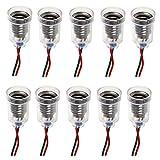 GutReise 10pcs E10 lámparas base E10 screw-mount pequeñas bombillas LED E10 titular base de luz de techo con alambre Socket para el hogar experimento circuito pruebas eléctricas Accesorios