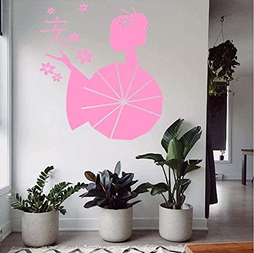 Pegatinas De Pared Desmontables Autoadhesivas Dormitorio Arte Tatuajes De Pared Dibujos Animados Personaje Belleza Dama Con Paraguas Luna Flores De Cerezo Flor De Pétalo Sala De Estar 55X 63Cm