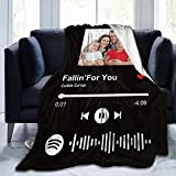 Personalized Custom Blanket with Picture Text, Personalized Spotify Code Music Blanket, Custom Flannel Blankets Using Photos of Family, Friends, Dog, Cat Or Pet,50x40 Inches