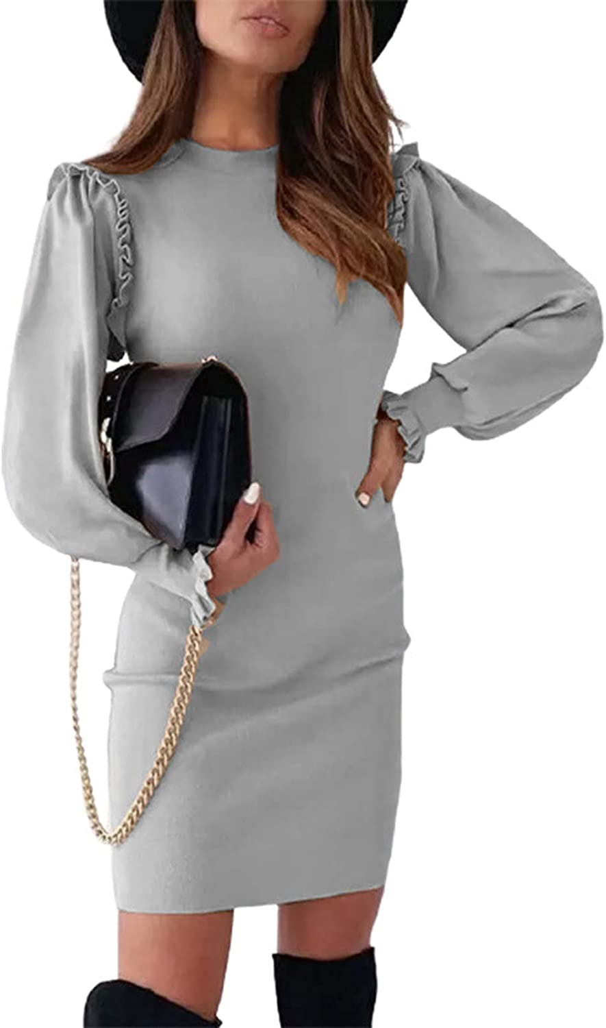 Women's Fashion Casual Solid Color Sexy Slim Fit O-Neck Button Long Sleeve Comfortable Dress