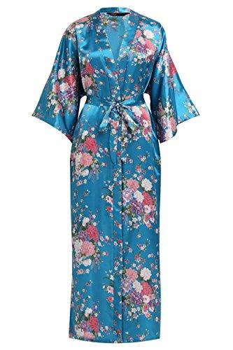 BABEYOND Kimono de Seda Vestido de Satén Kimono Pavo Real Novia Pijamas de Seda Bata de Satén 135 cm (Lago Azul)