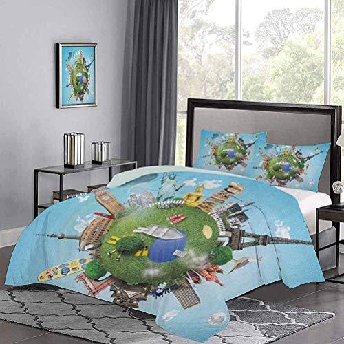 Yoyon Quilt Cover Kleiner Planet mit historischen Berühmtheiten auf der ganzen Welt Urlaubsreise Tröster Cover Farbe hat Sich nach EIN Paar mehrfarbigen Wäschen gehalten