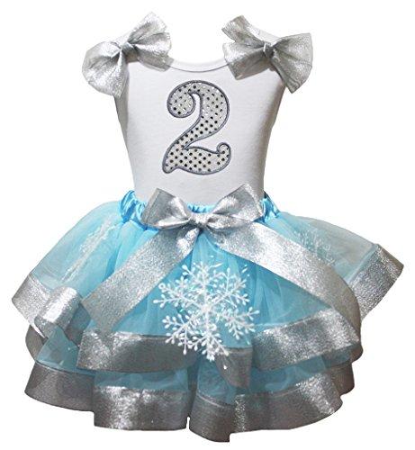 Cumpleaños vestido plata 2nd camisa blanca azul pétalos falda copo de nieve Disfraz nb-8y