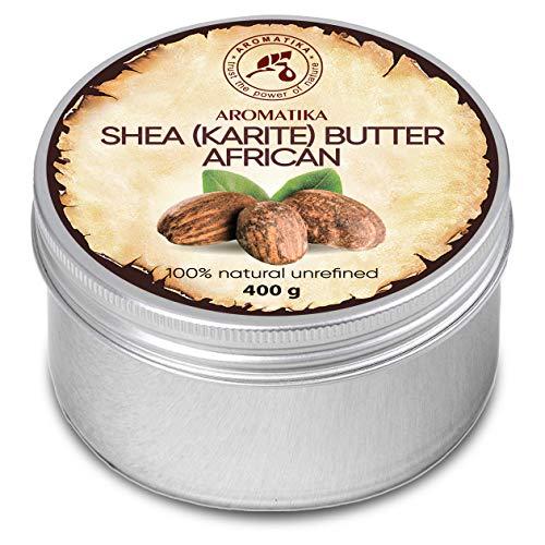 Beurre de Karité 400g - Non Raffiné - 100% Pur et Naturel - Pressé à Froid - Africain - Ghana - Idéal pour Cheveux - Peau - Lip - Visage - Soin du Corps - Bocal en Aluminium