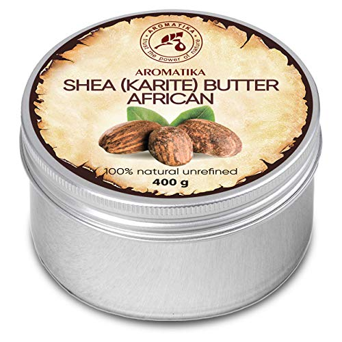 Beurre de Karité 400g - Non raffiné - 100% Pur et Naturel - Pressé à Froid - Africain - Ghana- Idéal pour les cheveux - Peau - Lip - Visage - Soin du corps - Beurre de Karite - Bocal en Aluminium