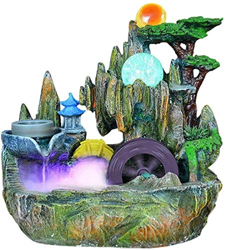 ZWJWJ Escultura Fuente de Escritorio Interior pequeña rocalla Escritorio montaña Cascada Cascada pabellón Rueda hidráulica Bola rodante Feng Shui decoración de la Suerte Regalo Fuente Interior