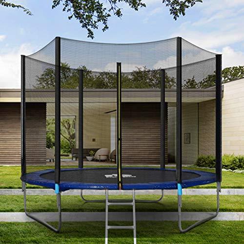 Cama elástica para exteriores, cama elástica para niños, para jardín, con red de seguridad y borde de escalera, diámetro de 183/244/305 cm, 2,4 m