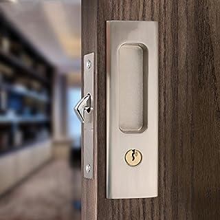 CCJH Invisible Door Locks Handle with 3 Keys for Sliding Barn Wooden Door Furniture..
