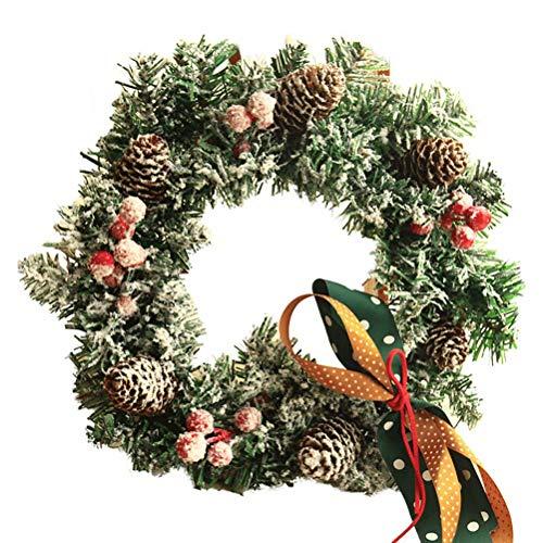LJF Christmas Flocking Wreath Pendant Decoration 30/40CM Butterfly Decoration red Fruit Decoration Hanging Wall Christmas Garland Ornament for Front Door Wall Fall Decoration Xmas Wreath Decorations