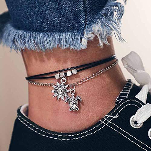 Jovano Boho avec multicouche cheville tortue et soleil pendentif cheville bracelets mode plage pied bijoux pour femmes et filles (argent)