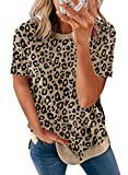 Biucly Women's Casual Summer Tshirts Short Sleeve Crewneck Shirts Leopard Print Loose Blouse Basic Tops Graphic Tees T-Shirt for Women,US 16-18(XL),Panther Brown