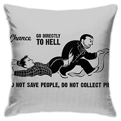 yukaiwei1 Cushion Case Supernatural Monopoly Go Directly To Hell Cozy Living Quarters Pillowcase Throw Pillow Covers Couch Cushions Decorative 45X45Cm Home Couch Bedroom Durable Zipper Anime