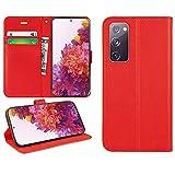 DN-Technology Galaxy S20 FE Hülle, für Samsung S20 FE Hülle, Handyhülle Cover PU Leder Flip Hülle Wallet Style Book Pouch Magnetverschluss Kartenhalter für Samsung Galaxy S20 FE (Rot)