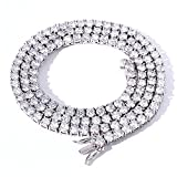 4mm Tennis Chain for Men Tennis Necklaces for Women Iced Out Tennis Chain Bling Cubic Zirconia Tennis Necklace Silver 18 inch