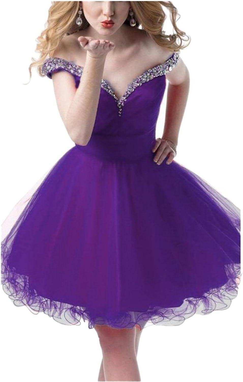 Women's OffShoulder Cocktail Dress Short Rhinestones Homecoming Gowns PurpleUS8