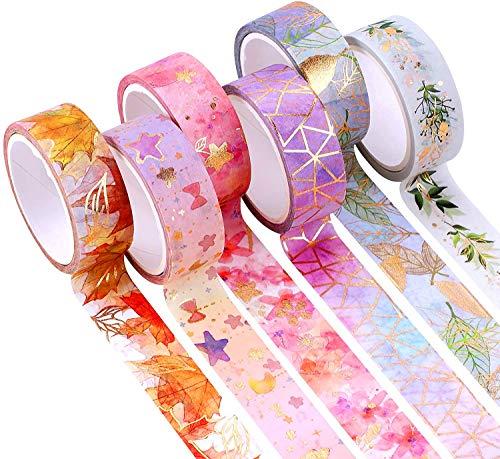 YUBX 6 Rouleaux Washi Tape Ruban Adhésif Papier Décoratif Masking Tape pour Scrapbooking Artisanat de Bricolage (Flower Gold 6)