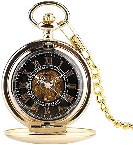 EURYTKS Pocket Watch Gold Color Mechanical Pocket Watch 30cm Chain Hand Wind Men's Watches Roman Numerals Skeleton Dial Male Clock Gifts