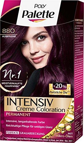 Poly Palette Intensiv Creme Coloration, 880 Aubergine Stufe 3, 3er Pack (3 x 115 ml)