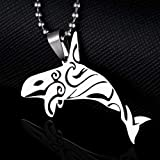 Dogdotnet Stainless Steel Killer Whales Orca Inuit Totem Arts Charm Pendant Necklace