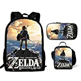 ZooYi The Legend of Zelda Backpack-3D Backpack Kids Back to School Lightweight Backpack Sets with Lunch Bags Pencil Case