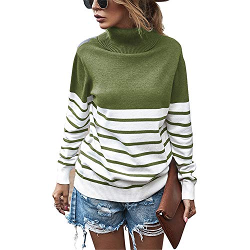ZFQQ Autumn and Winter Women's top high-Neck Striped Sweater ArmyGreen
