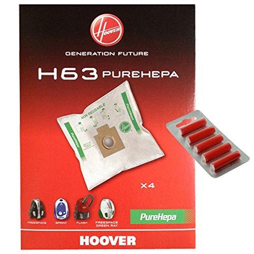 Hoover H63PUREHEPA Echte Staubsaugerbeutel (Pack 4+ 5Reinigertabs)