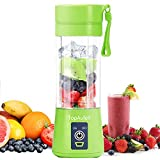 TopAufell Portable Blender,USB Rechargeable Personal Mixer,380ML Mini Blender for Fruit Smoothies and Milkshakes with Six Blades in 3D,Handheld Blender Suitable for Travel,Gym,Outdoor Sport(Green)