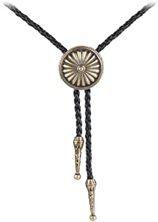 country /& western bull bolo tie silver tone on leather lace.