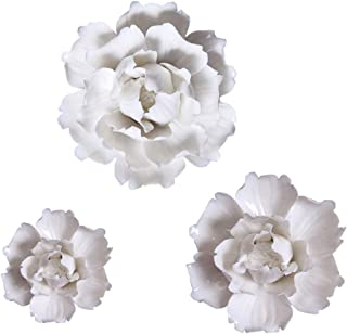 BINGNENG Handmade Ceramic Flowers 3D Wall Decor Hanging Room Decoration Art White Peony Flower 3 Pack