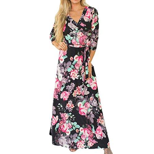 TWIFER Damen Damen Herbst Langarm V-Ausschnitt Kleid Knopf MaxiKleid (2XL, Schwarz)