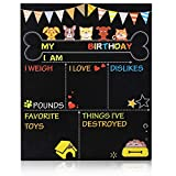 MIGOHI Birthday Milestone Board for Dog, Cat Party Invitation Board, Double-Sided Reusable Pet Chalkboard Sign for Birthday Theme Supplies, Photo Props Party Decorations Supplies