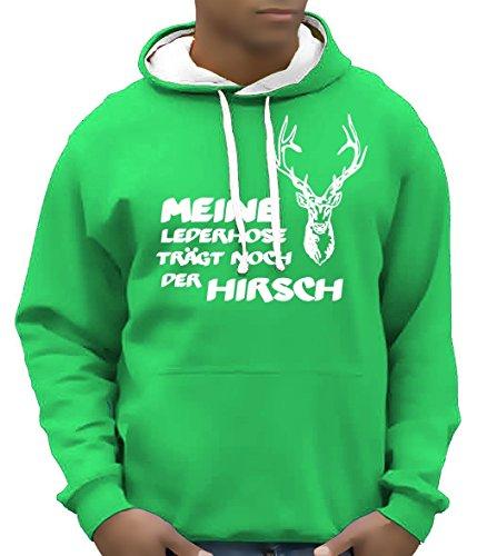 Coole-Fun-T-Shirts Meine Lederhose trägt noch der Hirsch - Oktoberfest Hoodie - Sweatshirt mit Kapuze BI Color Green-Weiss Gr.L