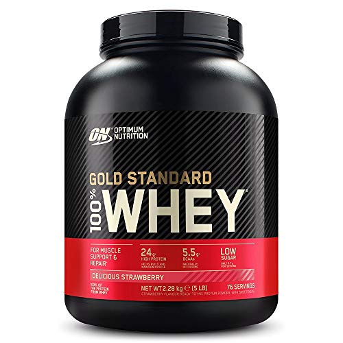 Optimum Nutrition Gold Standard Whey Muscle Building and Recovery Protein Powder With Naturally Occurring Glutamine and Amino Acids, Delicious Strawberry, 76 Servings, 2.28 Kg, packaging may vary