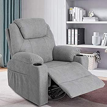 MAGIC UNION Fabric Massage Recliner Chair Rocking and 360°Swivel Heated Ergonomic Living Room Lounge Chair Single Sofa with 2 Cup Holders and Side Pockets Wireless Remote Control  Fabric+Gray