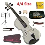 Merano 4/4 Full Size White Student Violin with Case and Bow+Extra Set of Strings, Extra Bridge, Shoulder Rest, Rosin, Metro Tuner, Black Music Stand, Rubber Mute