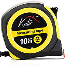33 Foot (10M) Measuring Tape By Kutir - EASY TO READ BOTH SIDE DUAL RULER, Retractable, Heavy Duty, MAGNETIC HOOK, Metric, Inches and Imperial Measurement, SHOCK ABSORBENT Rubber Case