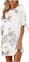 Hotkey Women's Dress, Fashion Women Casual O-Neck Lace Up Tartan Plaid Print Asymmetrical Mini Dress